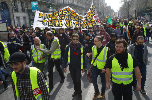 "For the 19th consecutive weekend of demonstrations since November, ""Yellow Vest"" protesters gathered in Paris on Saturday. Photo: Michel Euler/ AP"
