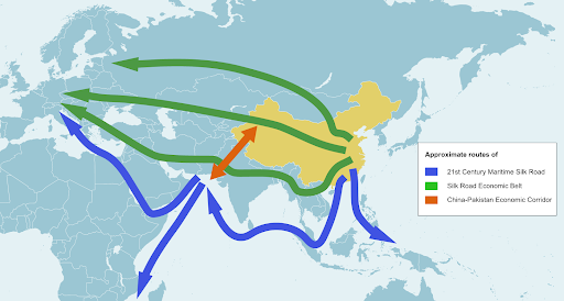 The Belt and Road Initiative (BRI) aims to link China to the rest of the Eastern hemisphere, including countries residing in Southeast Asia, the Middle East, Europe and Africa, through a system of networks along the lines of the old Silk Road. Credit:  Stockholm Environment Institute
