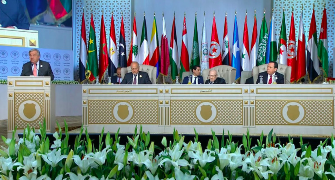 United Nations Secretary-General António Guterres speaks at the Arab League summit.  Photo : UN News