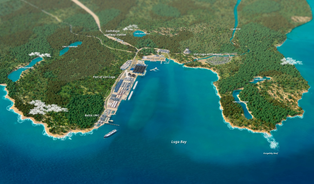 Projected plan for Baltic LNG's plant in the Usa-Luga Port in the Leningrad Region. Photo.    Source: Gazprom