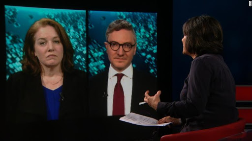 Scott Gilmore and Cat Colvin, sister of murdered journalist Marie Colvin appearing on CNN; Photo:  CNN