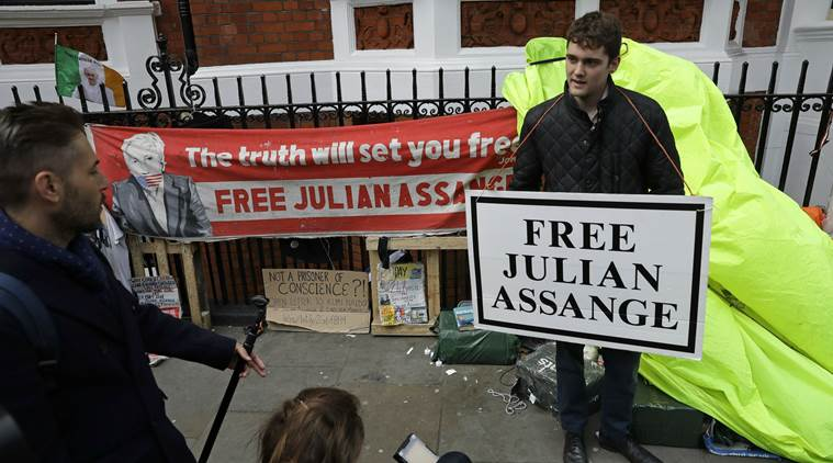 Supporters of Assange on the day of his arrest. Photo:  AP