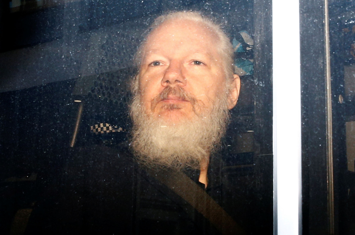 Julian Assange on the day of his arrest. Photo:  Reuters