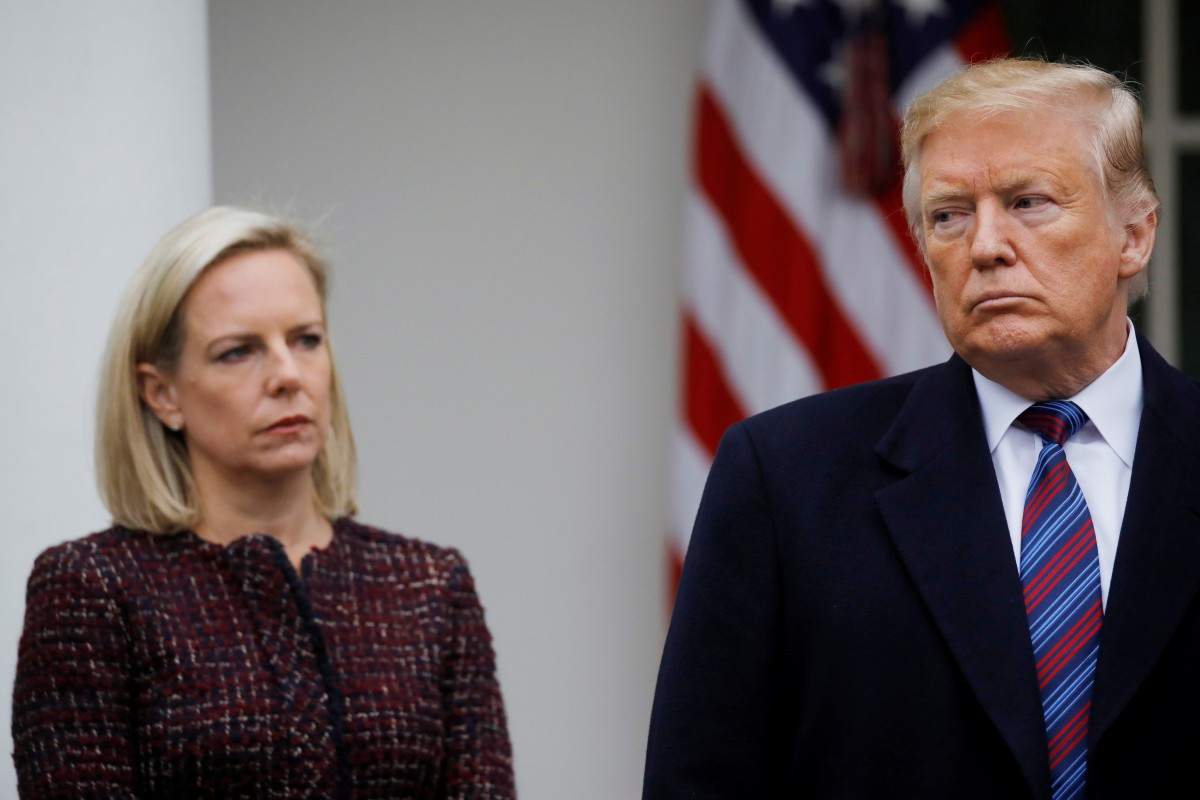 President Trump with former director of Homeland Security Kirstjen Nielson at the White House.  Photo:  Reuters