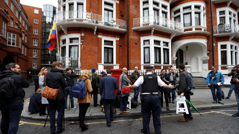 The Ecuadorian embassy in London, where Assange was removed after a seven-year stay. Photo: Peter Nicholls/Reuters via  AlJazeera .