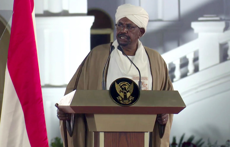 Now Ex-President of Sudan, Omar al-Bashir, speaks at the Presidential Palace in the capital Khartoum on Friday, February 22, 2019. Photo: Mohamed Abuamrain/ AP Photo