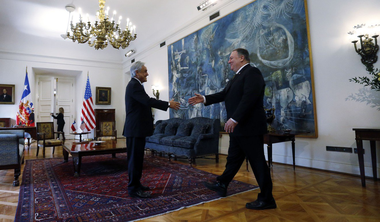 President Piñera receiving Secretary Pompeo in Santiago, Chile.  Photo:  South China Morning Post