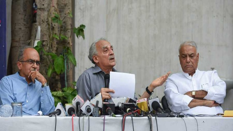 Sitting from left to right: Former union ministers Yashwant Sinha and Arun Shourie and activist lawyer Prashant Bhushan are key petitioners who submitted Rafale review pleas in order to investigate the possible discrepancies in the deal. Photo:  NewsX