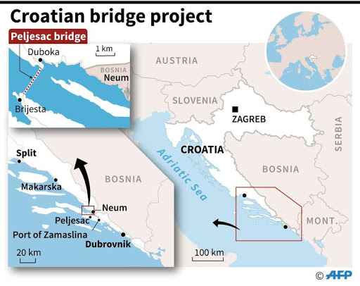 Map depicting the planned route of the Peljesac Bridge in Croatia. Photo.    Source: China Daily via Agence France Presse