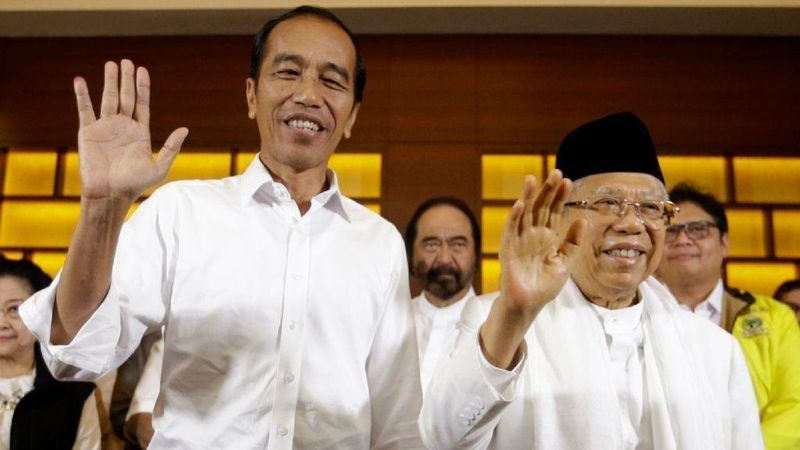 President Joko Widodo at a press conference after polls closed on April 17.  Photo:  Achmad Ibrahim / Associated Press