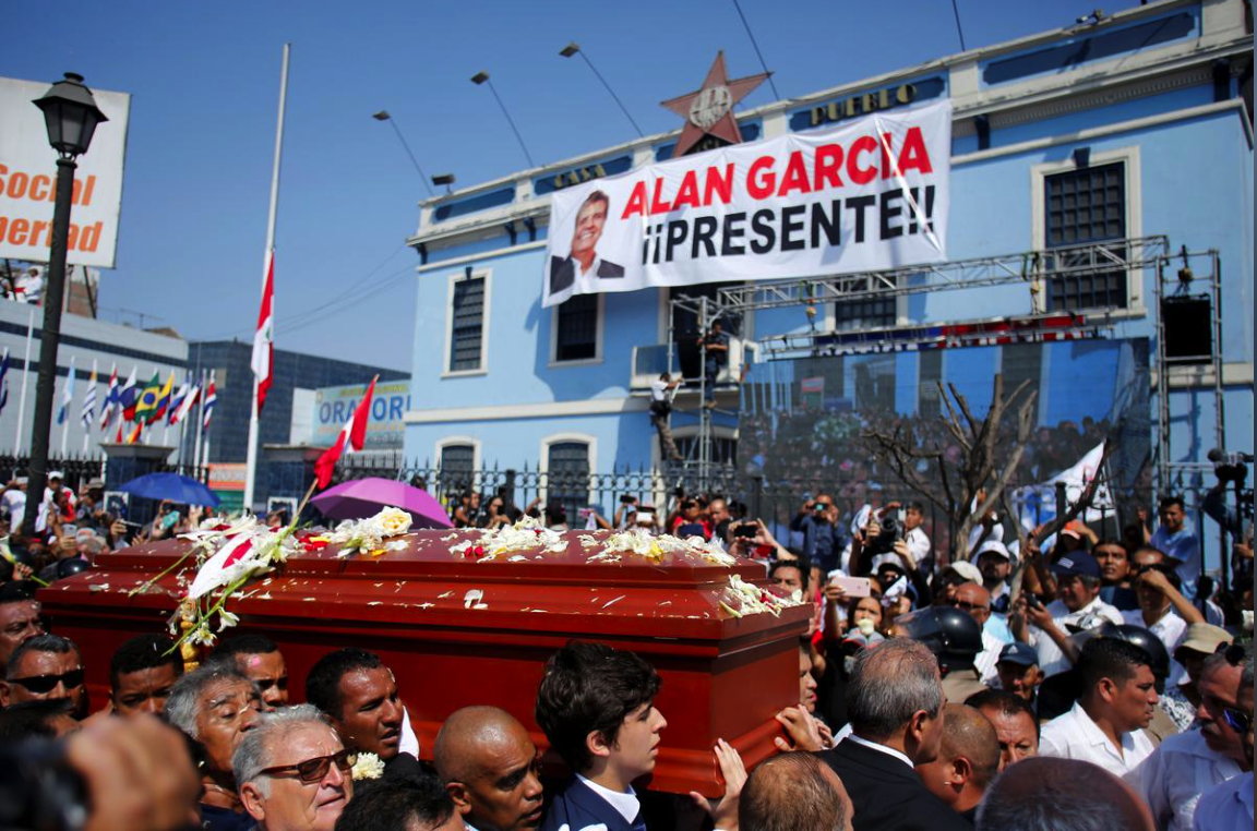 Family and friends carried García's coffin through the streets of Lima on Friday during the ex-president's funeral. García's family, allies, and supporters gathered for three national days of mourning. Photo: Janine Costa /  Reuters .