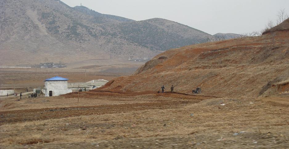 Farming in North Korea faces a new challenge as soil degrades due to deforestation. Photo: Margaret Palmer /  E&E News .