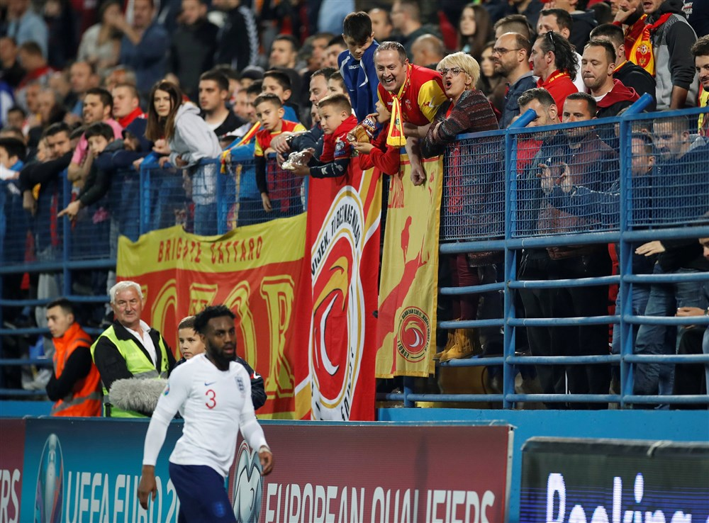 England's Danny Rose playing in Montenegro amidst a crowd of Serbian fans. Photo: Carl Recine /  Reuters .
