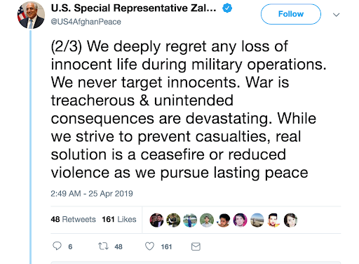 Tweet from US special envoy to Afghanistan, Zalmay Khalilzad; Photo:  Twitter