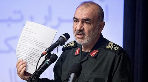 Gen. Hossein Salami speaking in a meeting in Tehran.  Photo : Sepahnews via AP