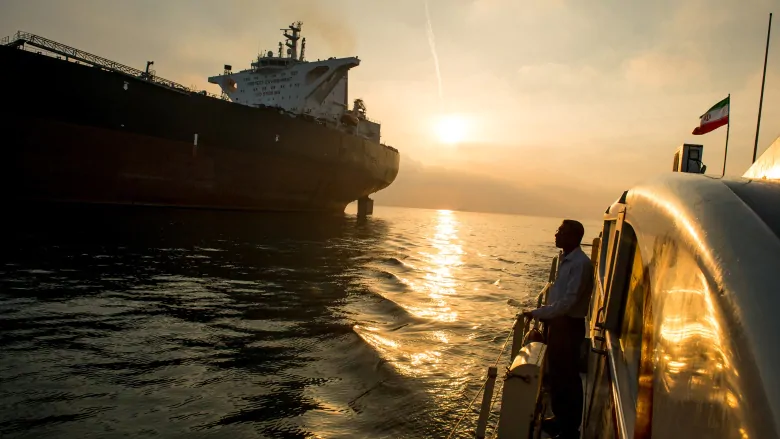 An Iranian Oil Tanker docking with another Iranian Support Ship  Credit:  Ali Mohammed/Bloomberg