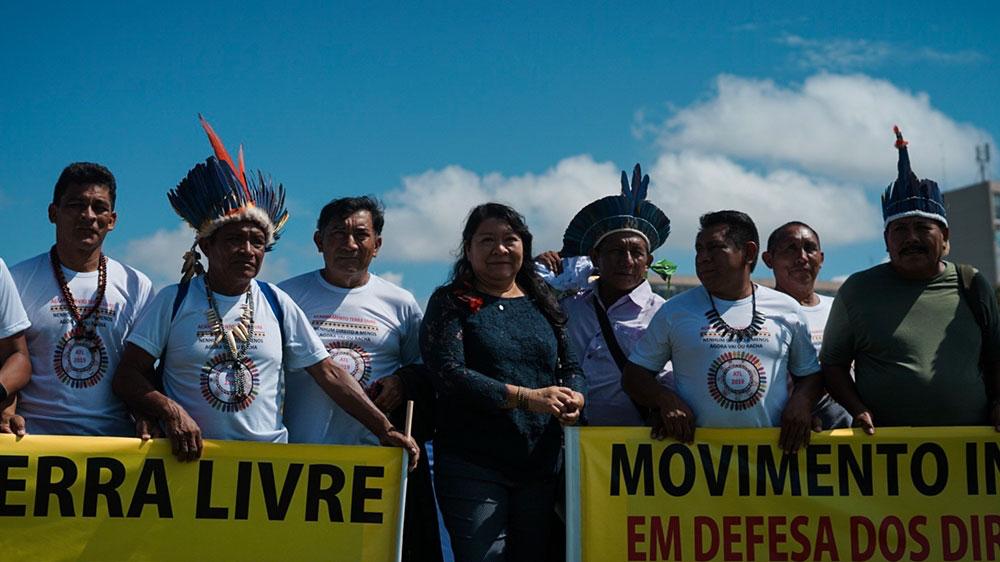 Indigenous Congresswoman Joenia Wapichan poses with other members of the Free Land Camp in Brasilia. Photo: Mia Alberti/ Al Jazeera .
