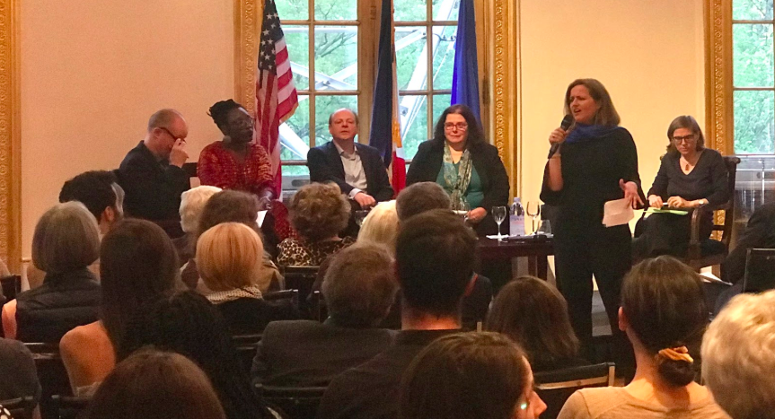Frédéric Viguier (left), Mame-Fatou Niang (left center), Patrick Boucheron (center), Nicolas Delalande (right center), and Francesca Trivellato (right) being introduced by Benedicte de Montlaur (speaking)