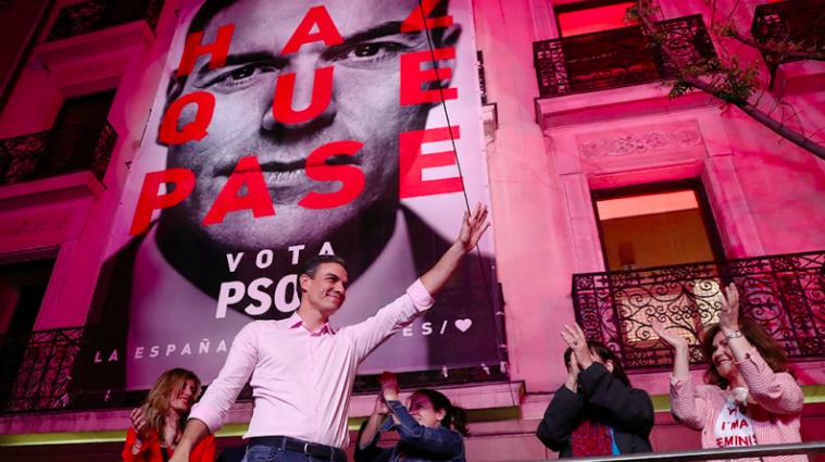 PM Pedro Sánchez celebrates a general election win for PSOE in Madrid, Spain. Photo: Sergio Perez/ Reuters