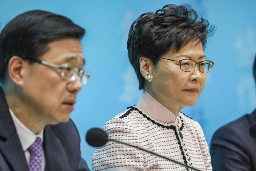 Hong Kong Chief Executive Carrie Lam Cheng Yuet-ngor (right) and Secretary for Security John Lee Ka-chiu address criticism surrounding the proposed amendments to Hong Kong's extradition laws. Photo:  Sam Tsang/South China Morning Post .