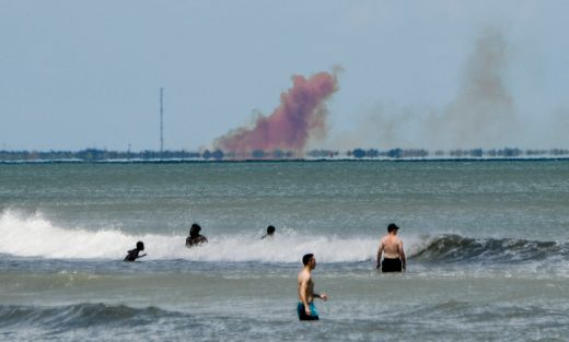 A photo of the smoke caused by failed Dragon Capsule test. Photo Credit: Craig Bailey/ Florida Today