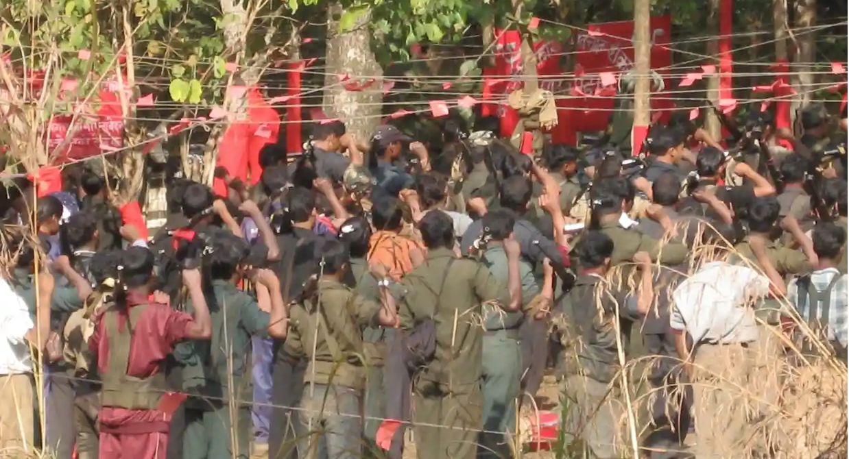 Maoist rebels gather in a forested area for a conference. Photo:  Alpha Shah/The Guardian
