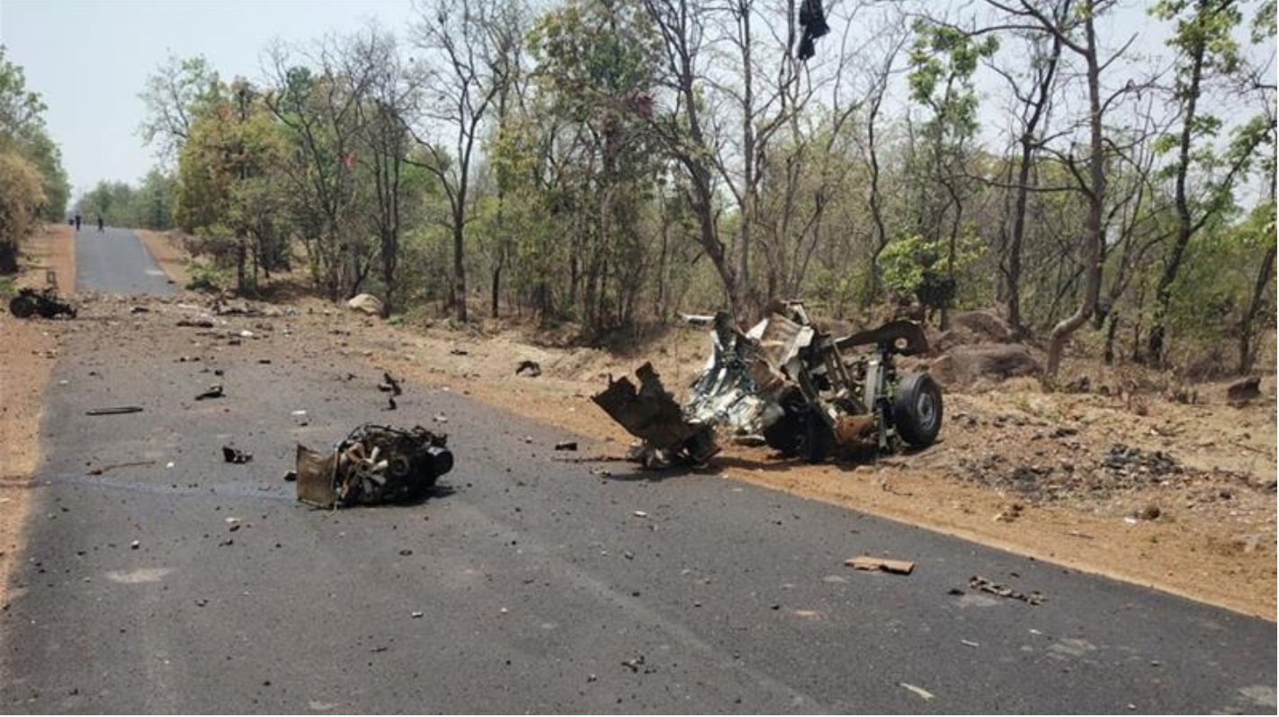 The landmine was set off by rebels after security forces were lured to the forested area.  Photo:  Unnamed Indian Official/Al Jazeera