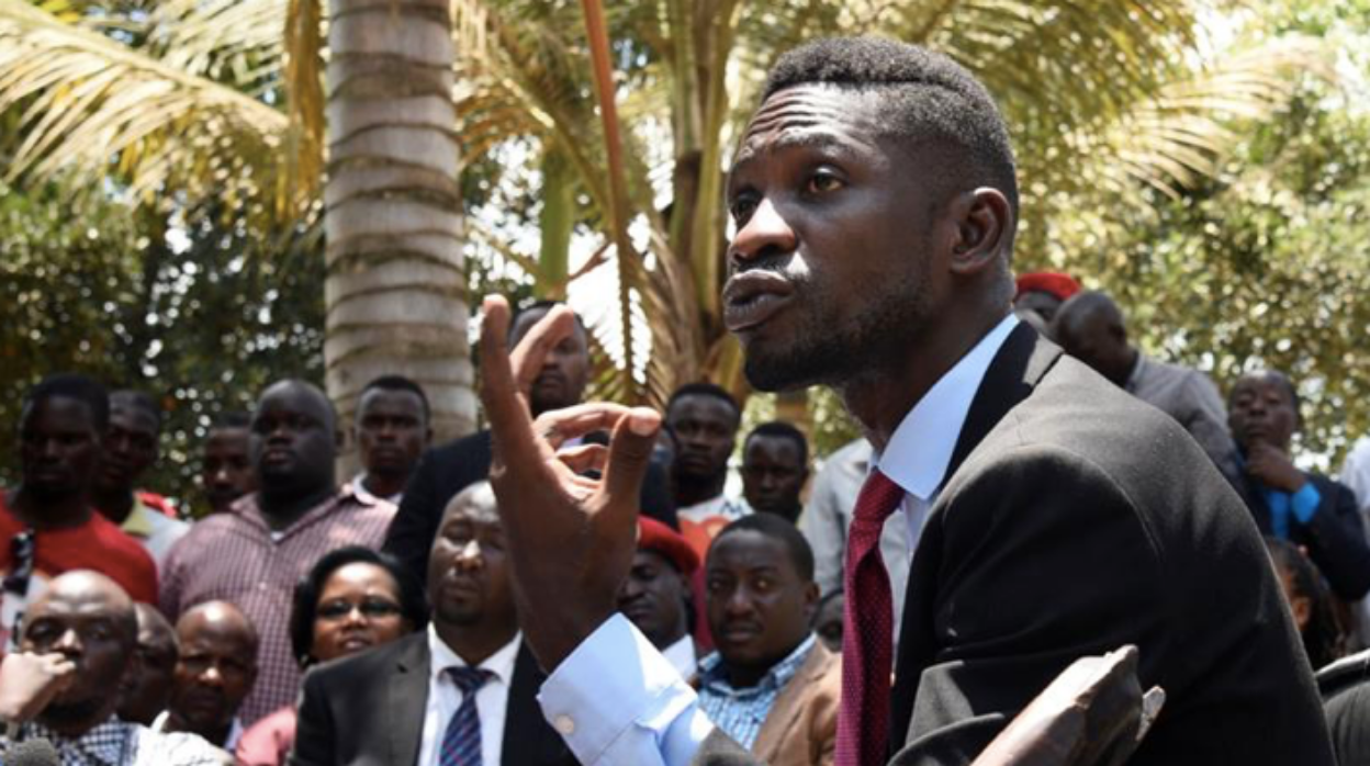 Uganda's opposition politician, Bobi Wine, addresses a crowd. Photo: Newton Nambwaya/ Reuters via Al Jazeera