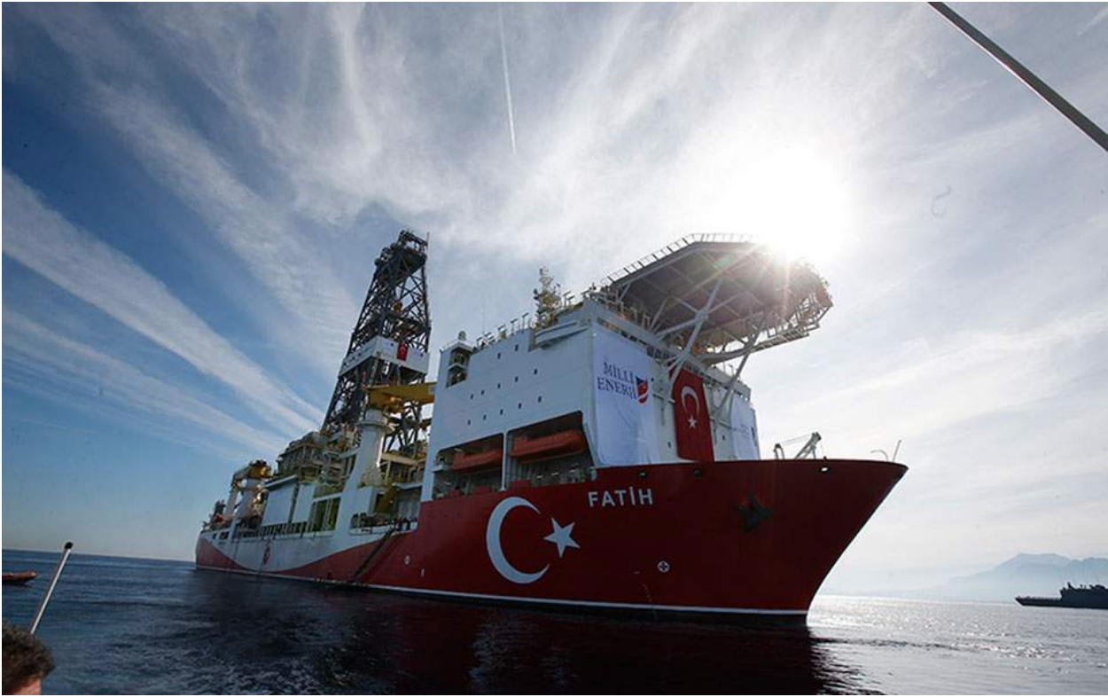"An undated photo of the Turkish drillship  Fatih , meaning ""conqueror"" in Turkish. Photo:   Ekathimerini"