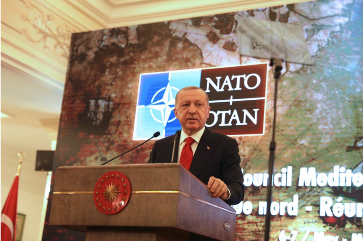 Turkish President Recep Tayyip Erdogan addresses the NATO Mediterranean Dialogue held in Ankara on May 6, 2019. Photo:  NATO