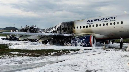 The back half of flight 1492 was completely destroyed in a ball of fire upon landing. Photo.    Source: Reuters via FT