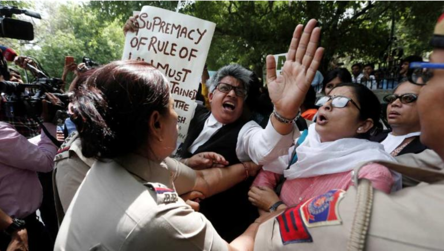 Dozens of demonstrators gathered at the Supreme Court to protest the court's decision. (Photo:  Reuters )