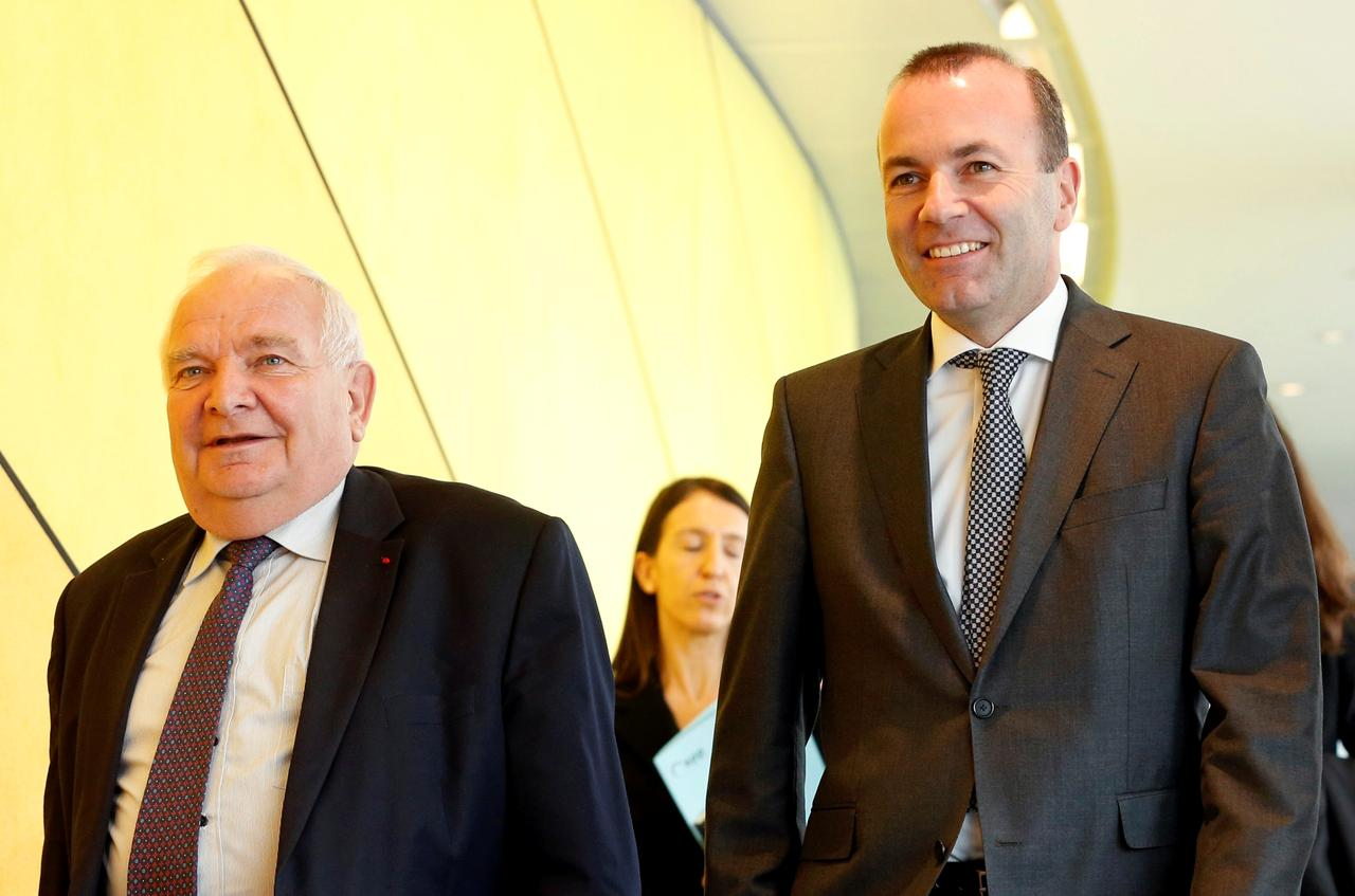 EPP President Joseph Daul of France (left) and EPP group leader and  Spitzenkandidat  Manfred Weber of Germany (right) attends the EPP Political Assembly in Brussels, Belgium on March 20, 2019. Photo:  Eva Plevier/Reuters