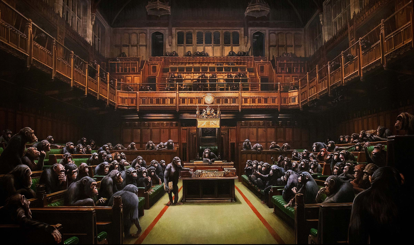 Banksy's  Devolved Parliament  (2009). Photo. Courtesy of the artist.  ArtNet News .