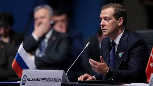 Russian Prime Minister Dmitri Medvevev speaking on the ratification of the Paris Agreement. Photo:  aa.com.t