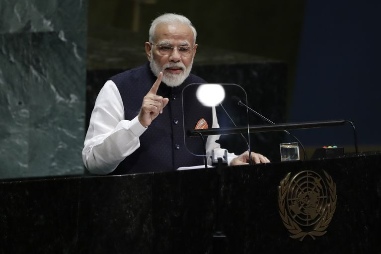 Indian Prime Minister Narendra Modi addresses the 74th session of the United Nations General Assembly, Friday, Sept. 27, 2019.  Photo: Frank Franklin II/ AP