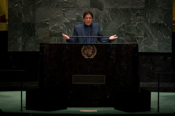 Pakistani Prime Minister Imran Khan rebuked Mr. Modi during his speech at the 74th United Nations General Assembly.  Photo: Dave Sanders/ The New York Times