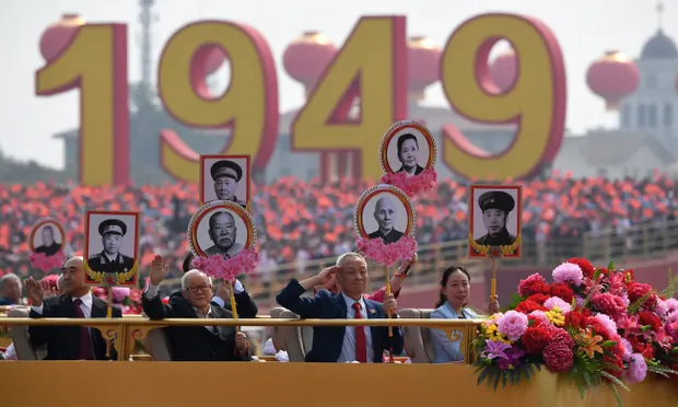 Revolutionary martyrs are put on display during the military parade in Tiananmen Square, Beijing in celebration of the 70th anniversary of the founding of the People's Republic of China. Photo: Greg Baker /  AFP