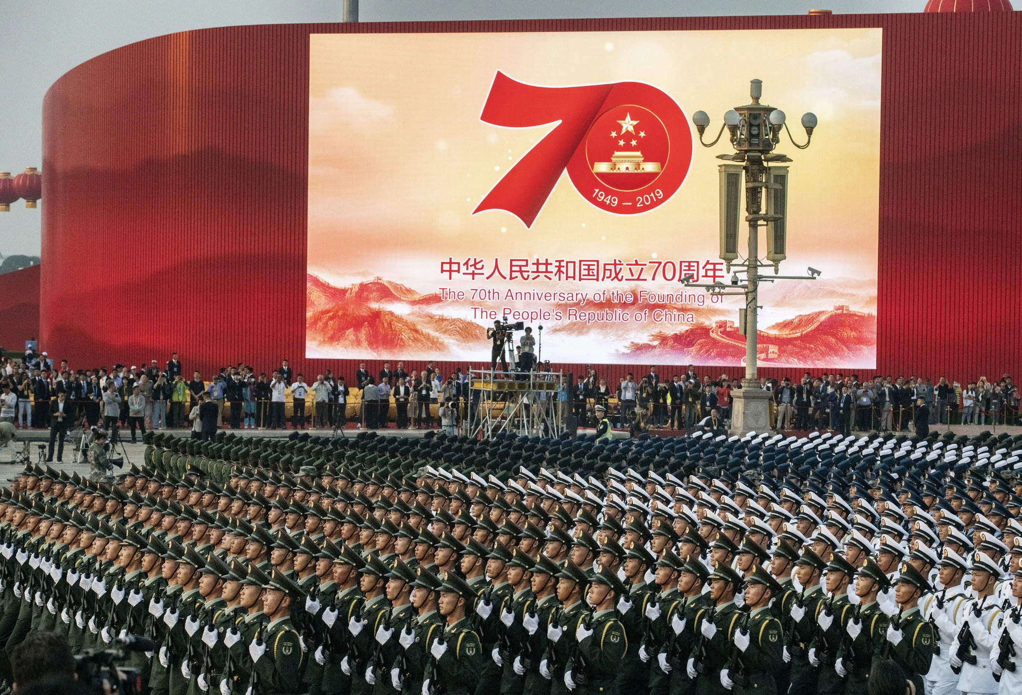 The Chinese military marches in a final rehearsal before the parade begins. Photo: Kevin Frayer /  Getty Images