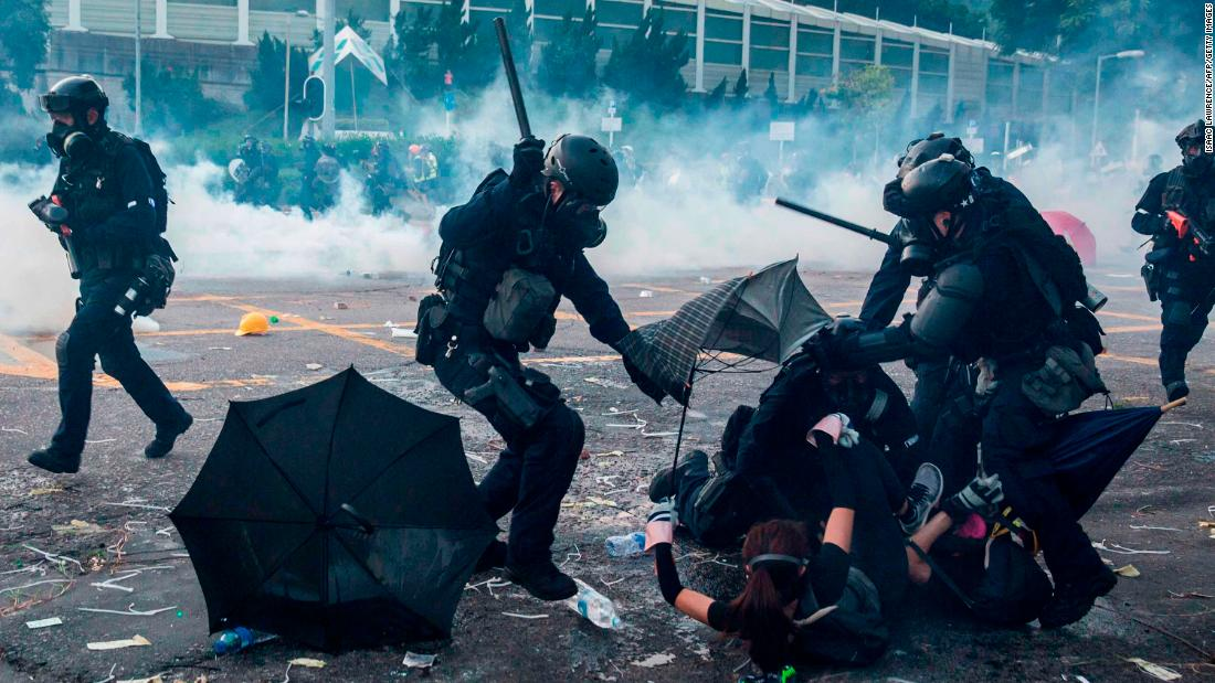 More than 180 Hong Kong protestors were arrested in protests that occurred on the day of the anniversary. Photo:  CNN