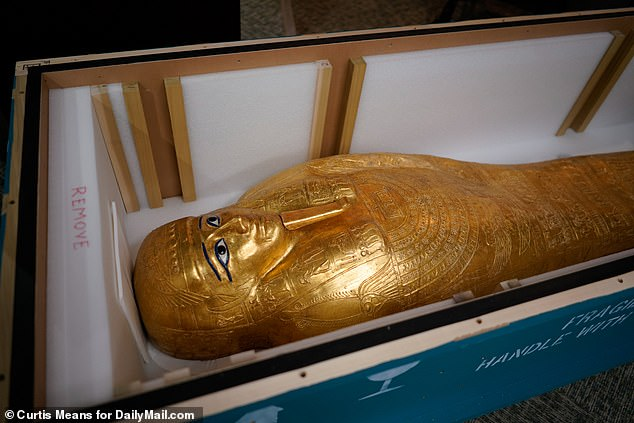 The coffin that previously held the Nedjemankh. 2019. Photo: Curtis Means.  Daily Mail.