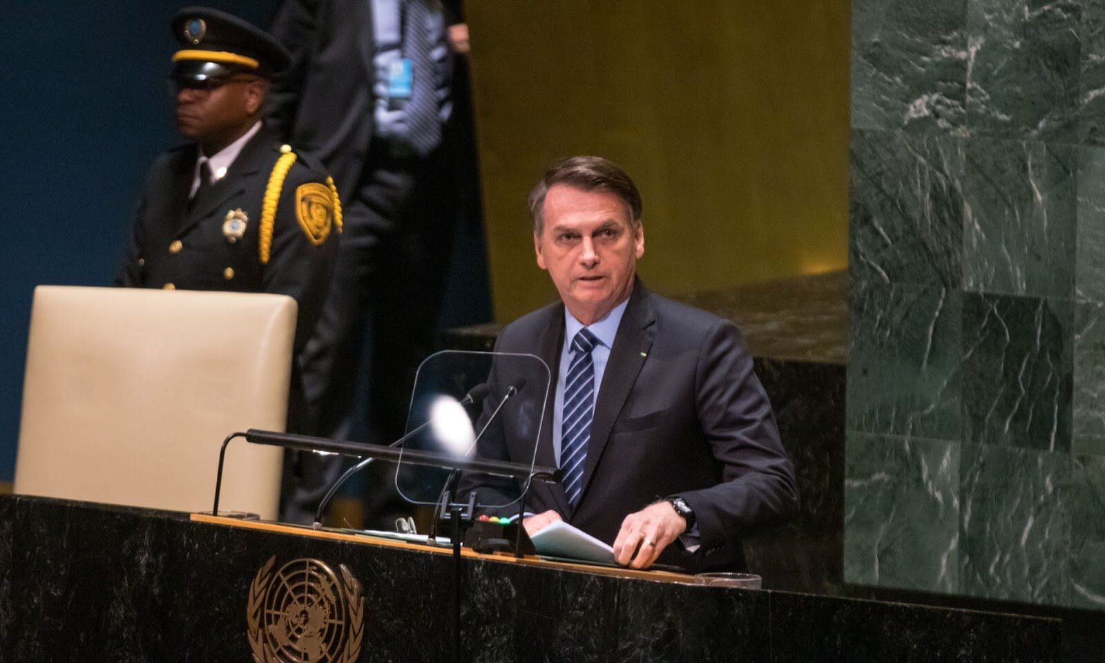 Jair Bolsonaro at the United Nations General Assembly in New York City on Tuesday. Photo:  William Volcov / REX / Shutterstock