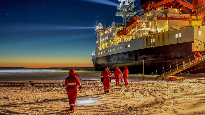German icebreaker Polarstern pictured operating in Antarctica in 2013. Photo:  Alfred Wegener Institute /Stefan Hendricks