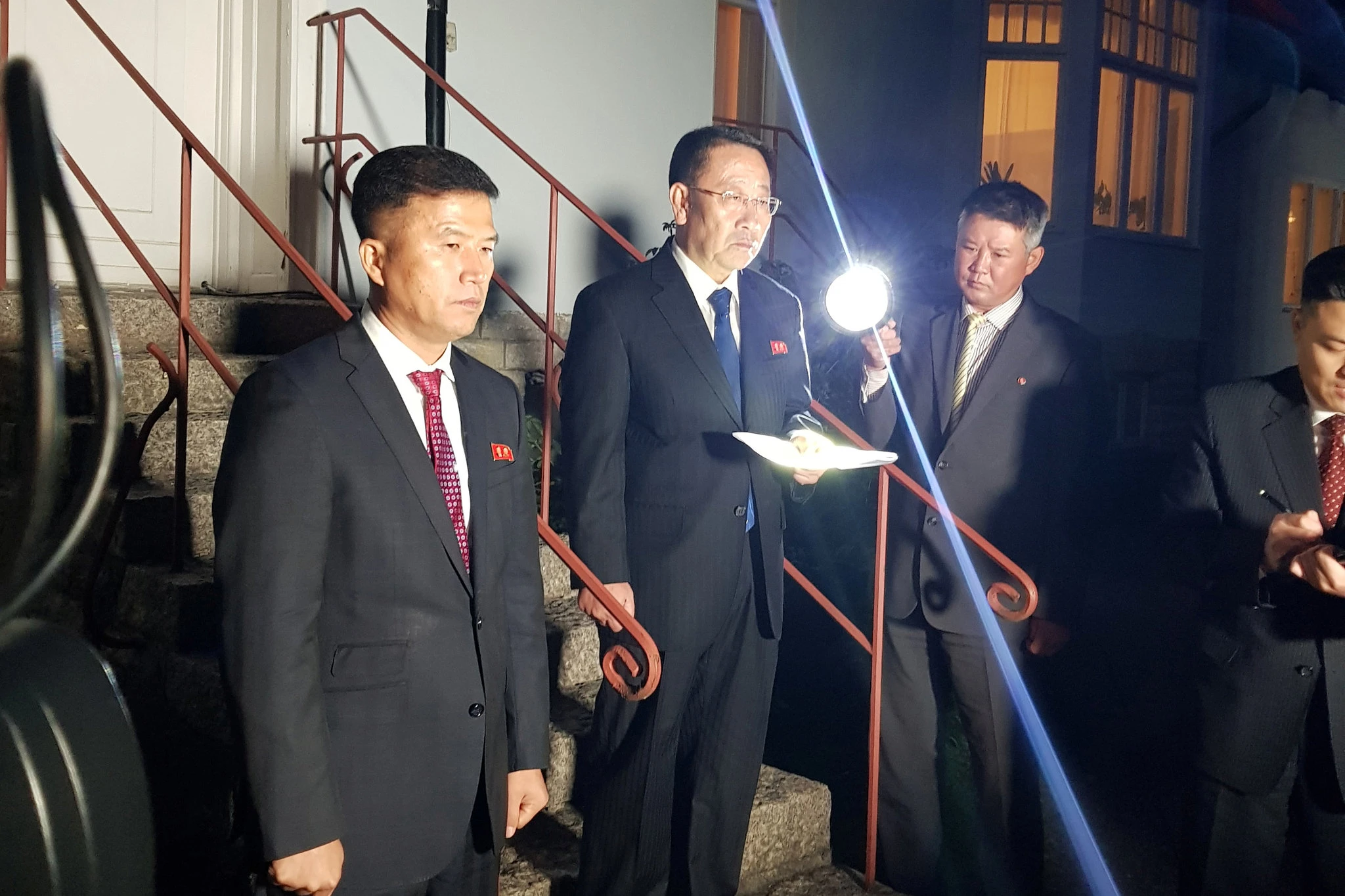 Chief North Korean Negotiator Kim Myong-Gil outside the North Korean Embassy on Saturday after negotiations collapsed. Photo: Phillip O'Connor /  Reuters