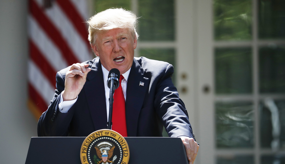 President Trump announcing his decision to pull the United States out of the Paris Climate Accord back in 2017.  Photo: Pablo Martinez Monsivais/ Washington Examiner