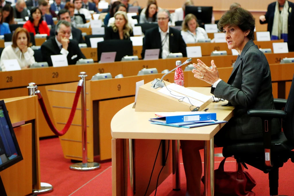 Sylvie Goulard, the rejected French pick for commissioner, during her hearing in the European Parliament. Photo:  François Lenoir / Reuters