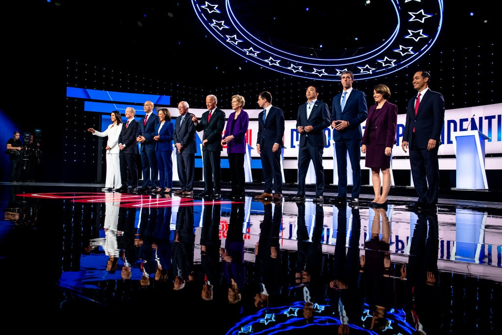Presidential hopefuls arrive on stage in Westerville, Ohio. Photo: New York Times/Hilary Swift