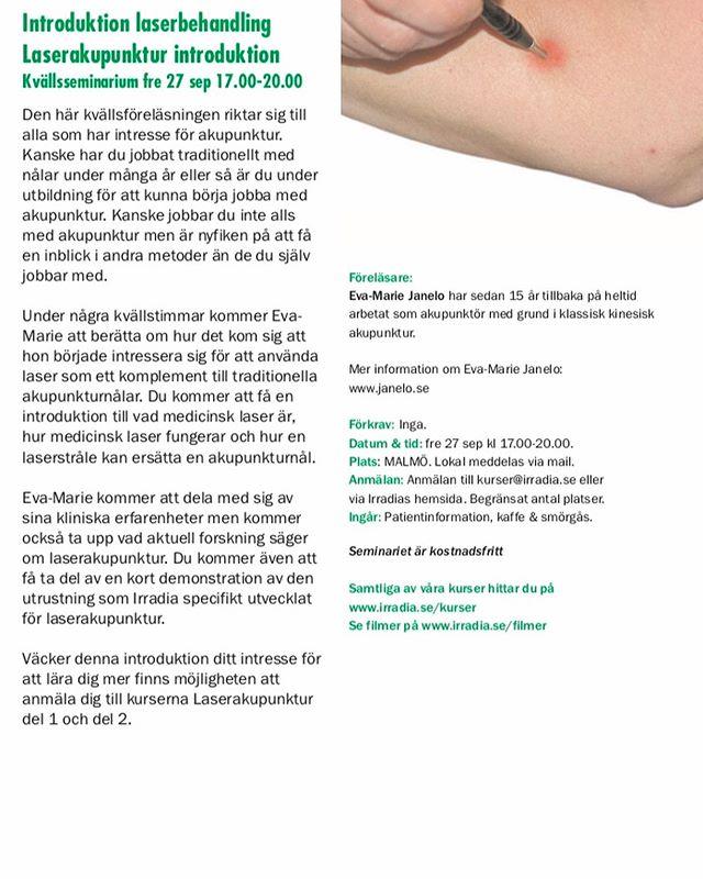 I september gästar jag Malmö igen. På fredagen erbjuds en kostnadsfri kvällsföreläsning och vill man fördjupa sig mer erbjuds en heldagskurs på lördagen. Se inbjudan i bifogade bilder. #laseracupuncture #laseracupuncturefordogs #lllt #acupuncture