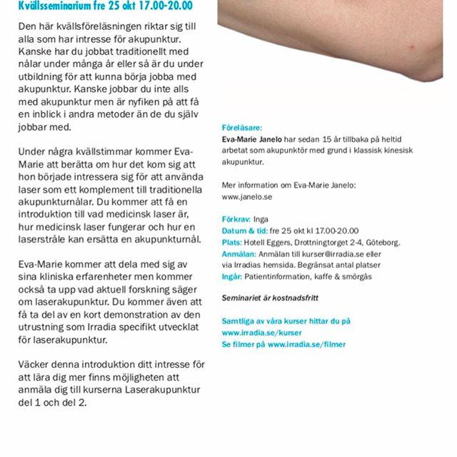Om två veckor gästar jag Göteborg. Kostnadsfritt kvällsseminarium som är öppet för alla som är intresserade av vad laserakupunktur är på fredag. På lördagen kan du som har grundläggande akupunkturkunskap gå en heldagskurs i laserakupunktur. Klicka på bilderna för information om hur, var, när. Föranmälan till båda tillfällena!