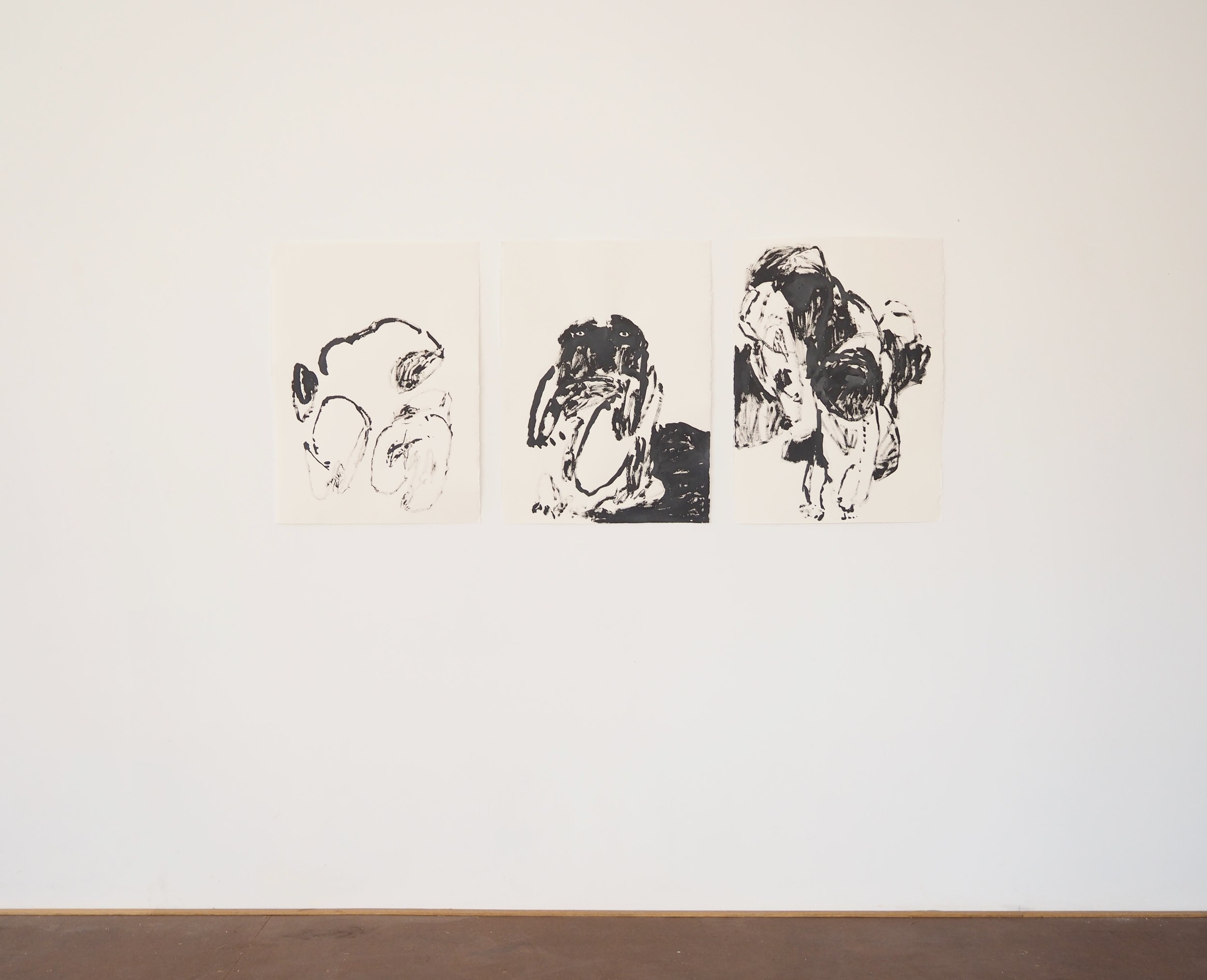 2 hours after Bedtime , 2017 Ink on paper 3 works, 76 x 56 cm each